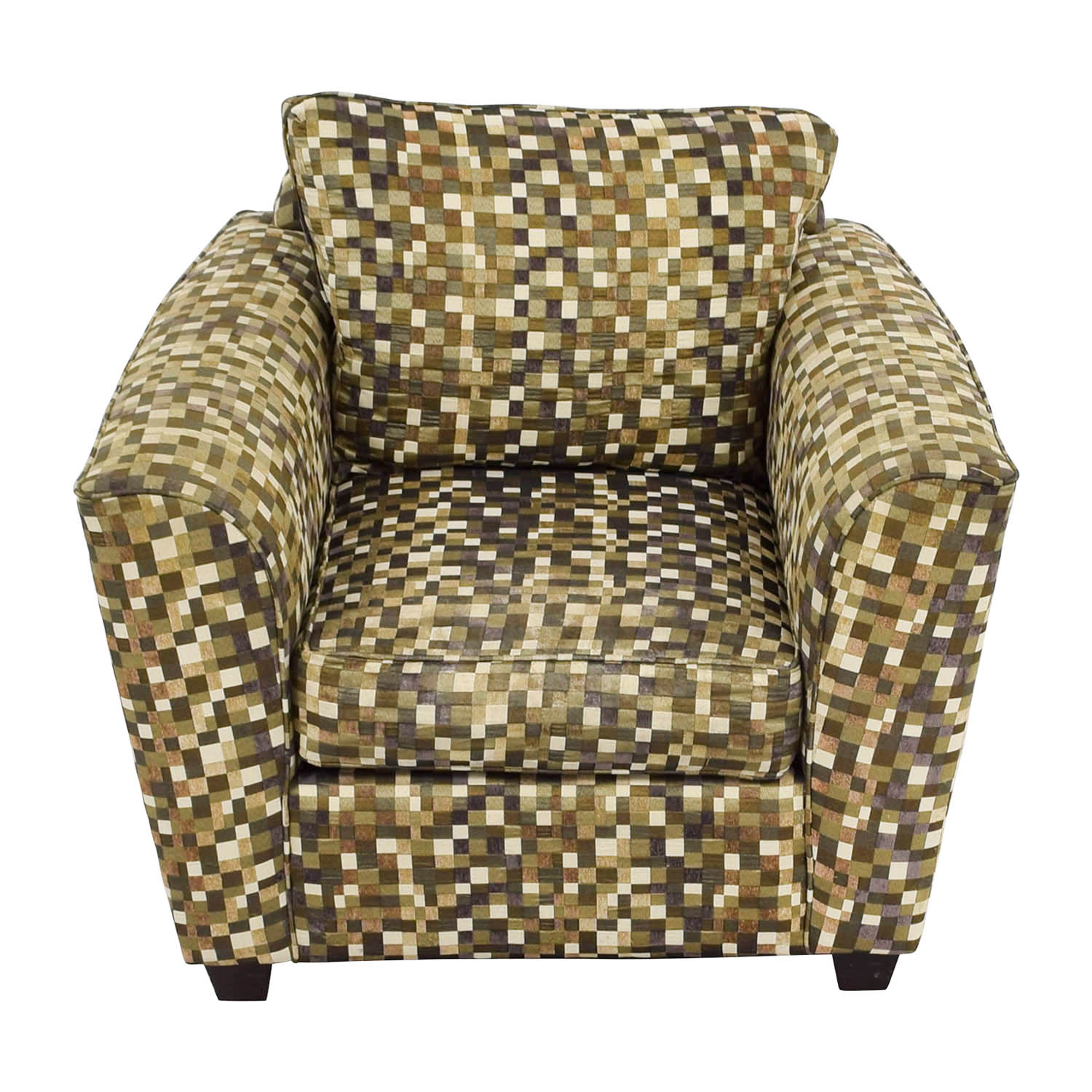 buy Green and Earth Toned Checkered Accent Chair online