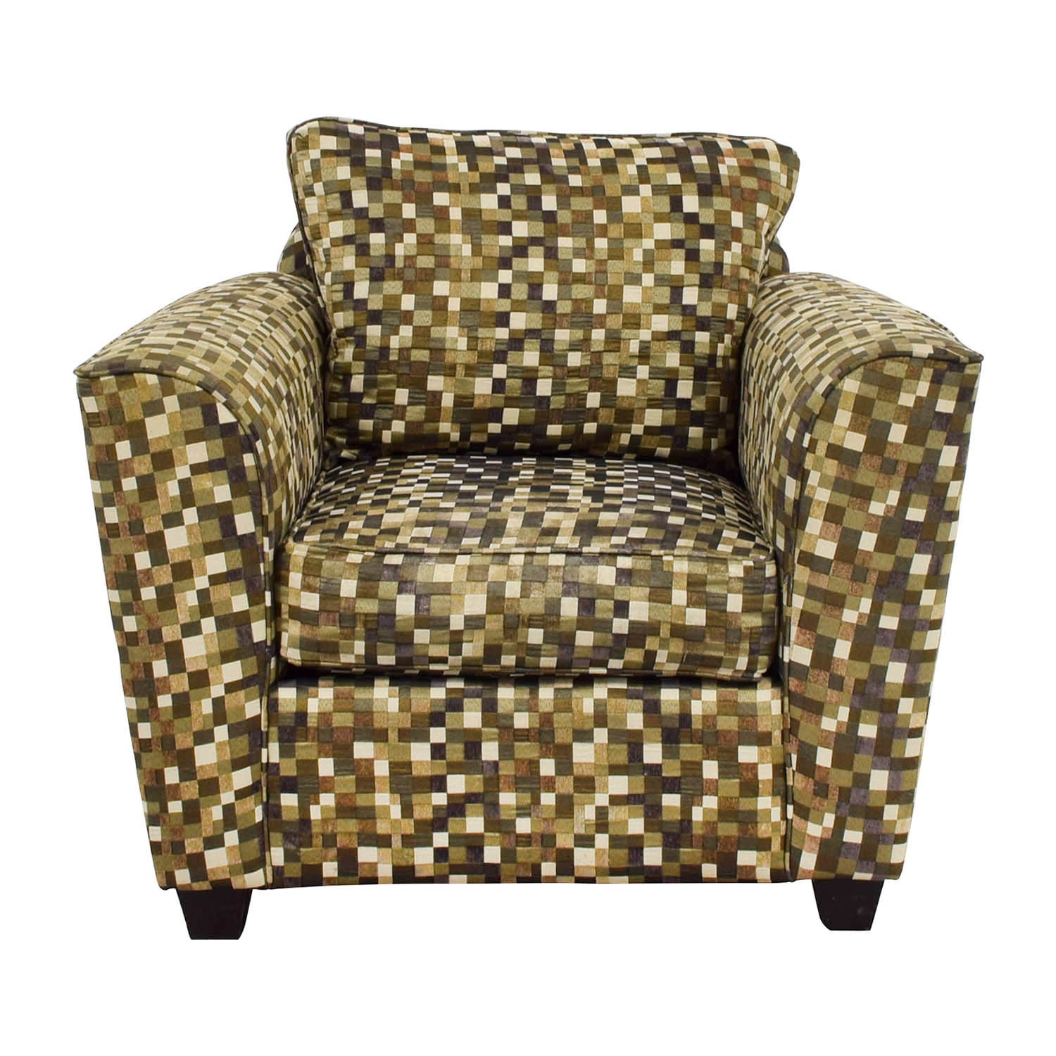 Green and Earth Toned Checkered Accent Chair dimensions