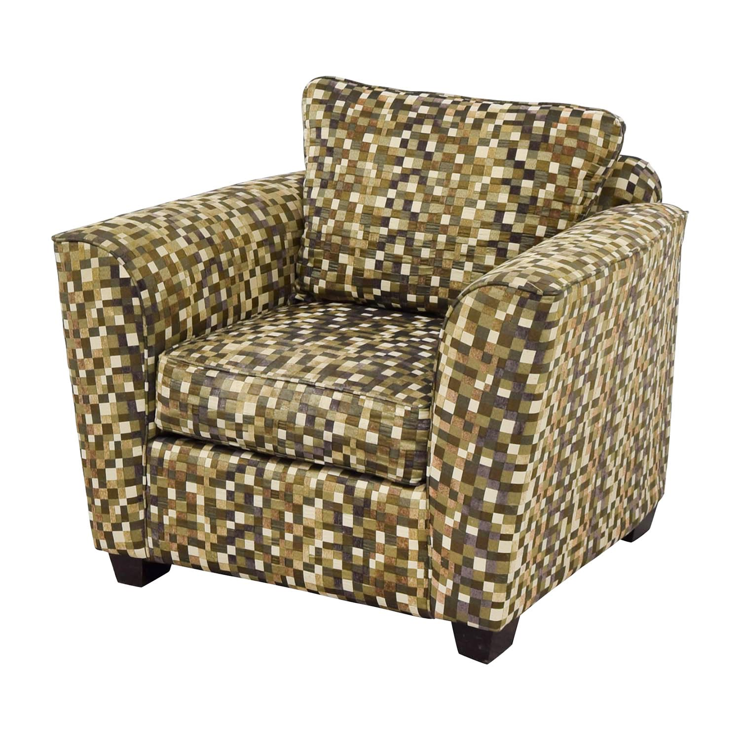 Buy Green And Earth Toned Checkered Accent Chair Accent Chairs