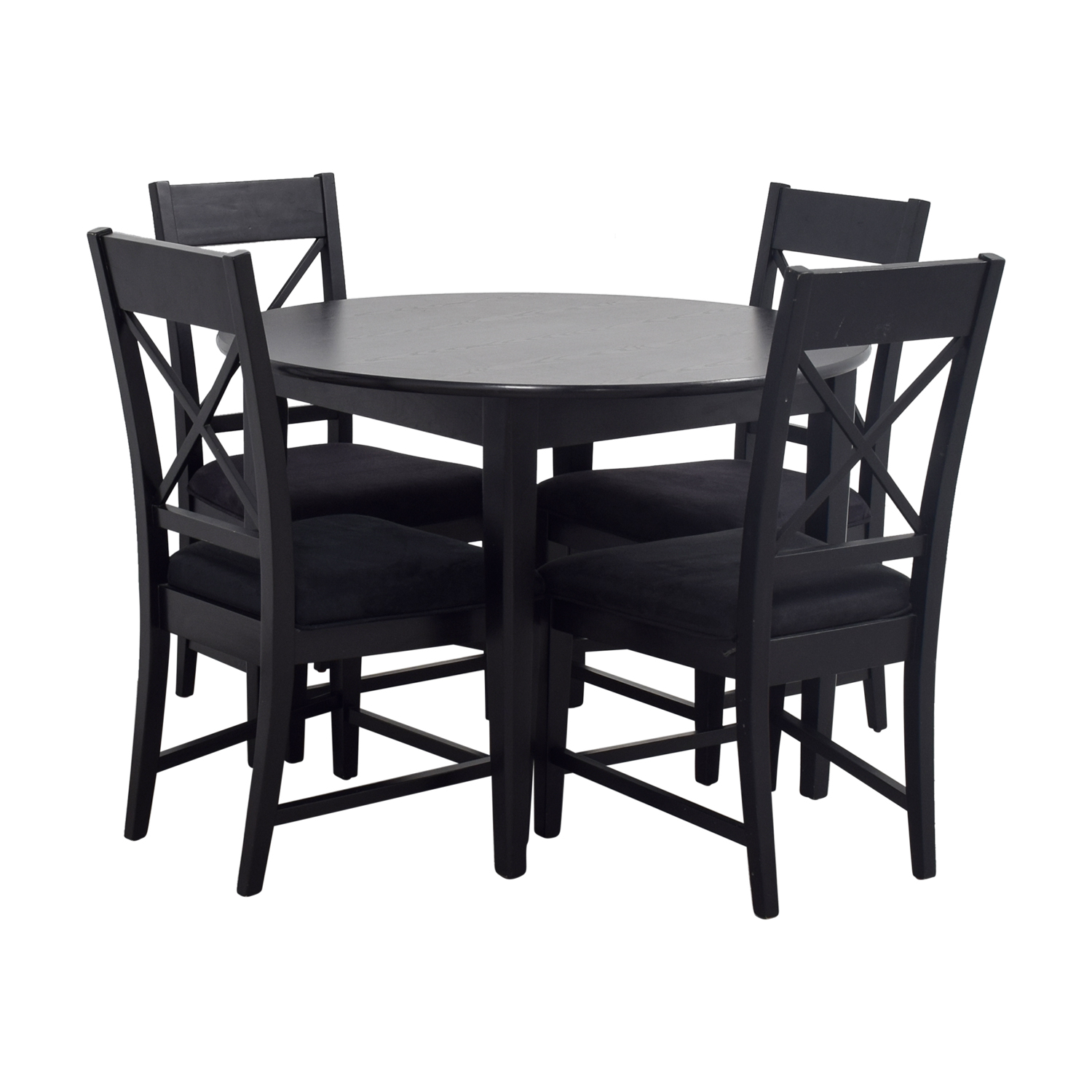 Dining Sets Black: Round Black Wood Dining Set / Tables