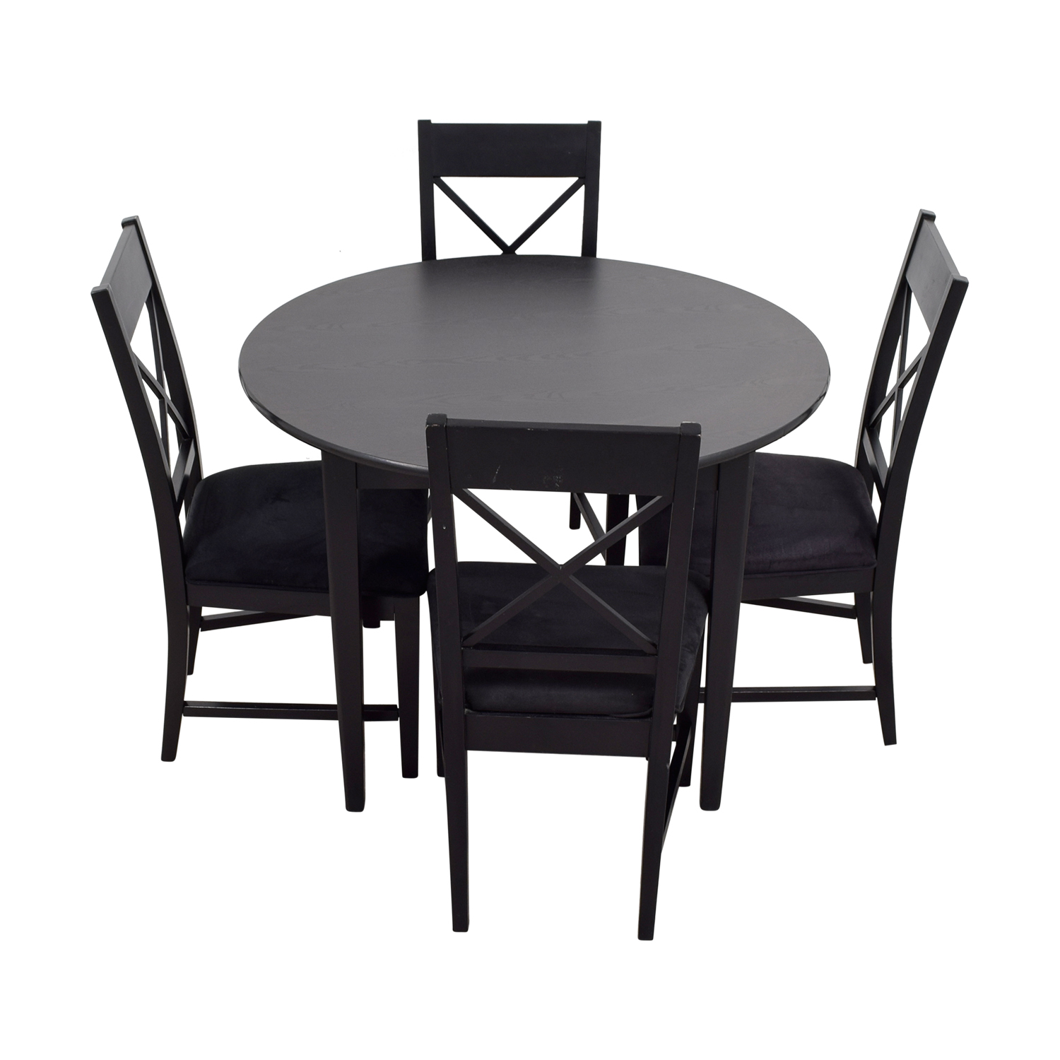 Genial 81% OFF   Round Black Wood Dining Set / Tables