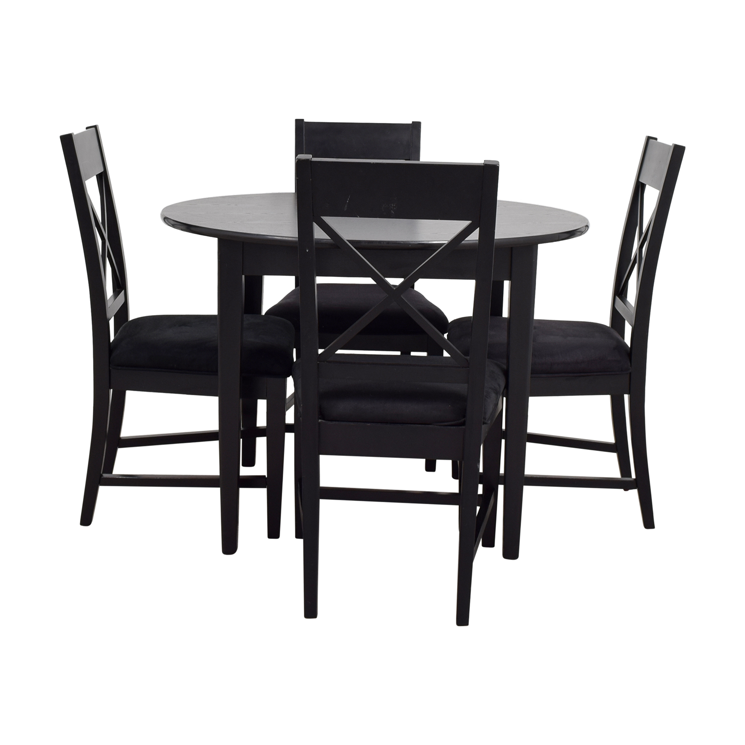 81 off round black wood dining set tables for Black and white dining set