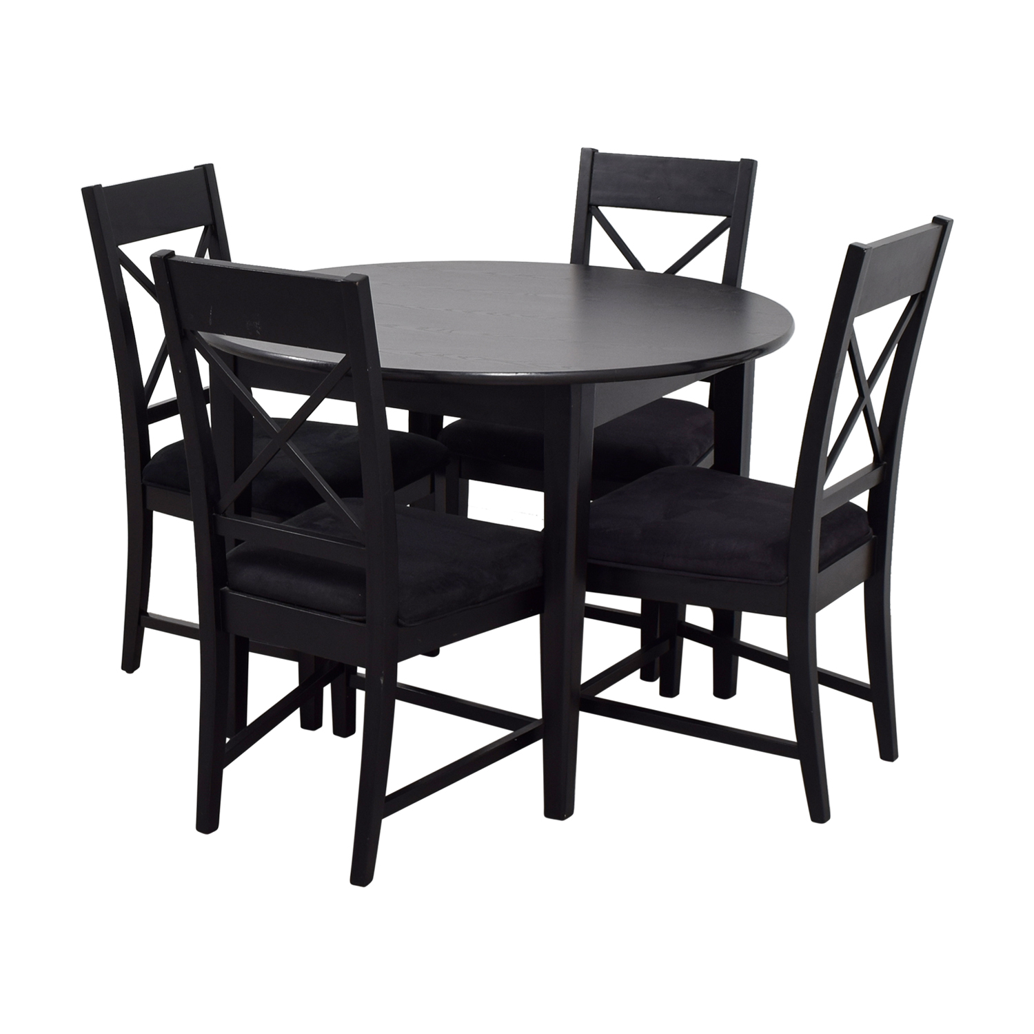 Dark Wood Dining Set: Round Black Wood Dining Set / Tables