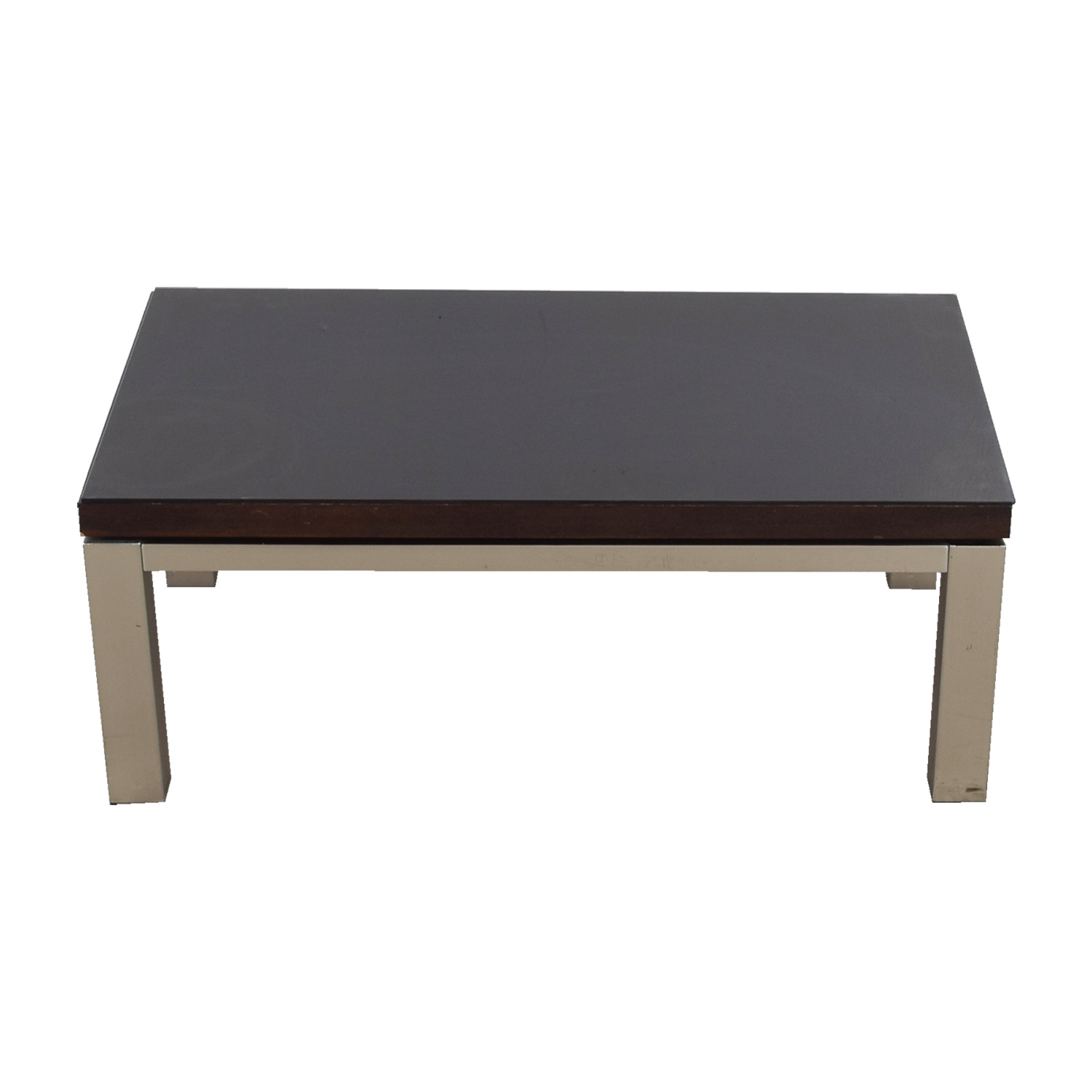 Wood and Chrome Rectangular Coffee Table / Coffee Tables