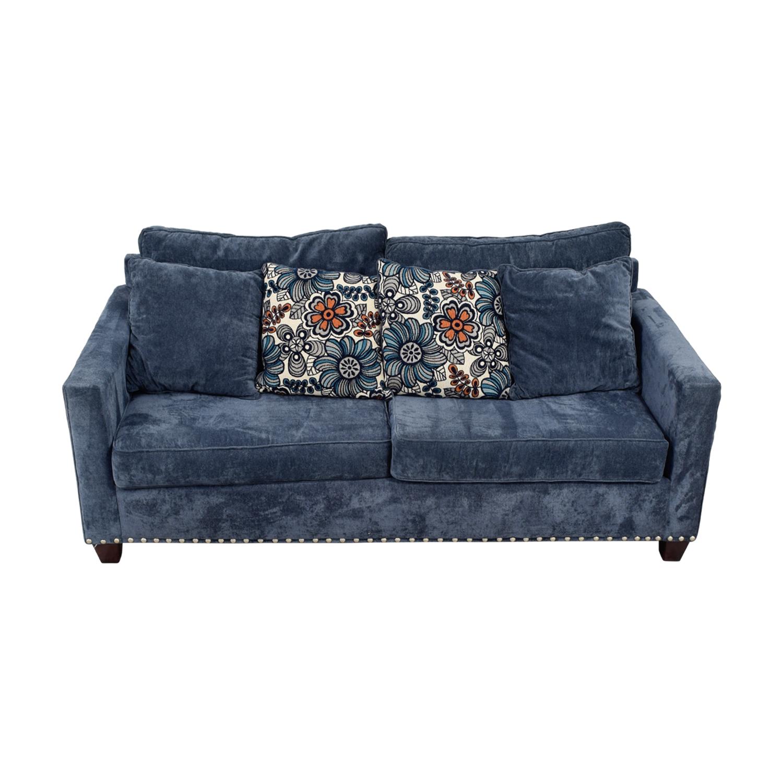 Bobs Furniture Melanie Navy Nailhead Sofa / Loveseats