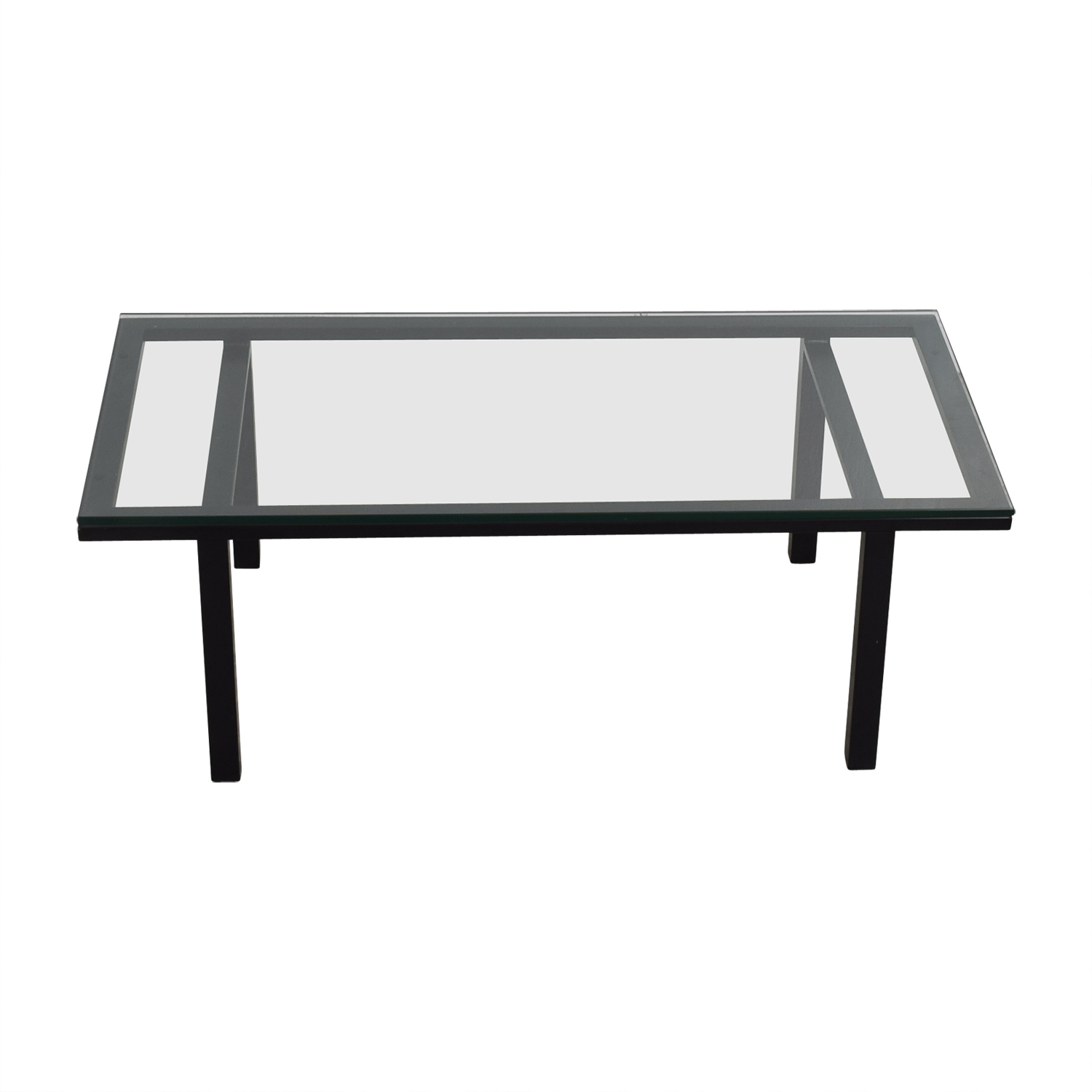 Rectangular Glass and Black Coffee Table / Sofas