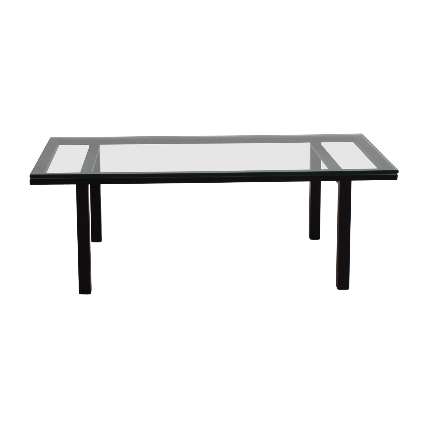 41 Off Rectangular Glass And Black Coffee Table Tables