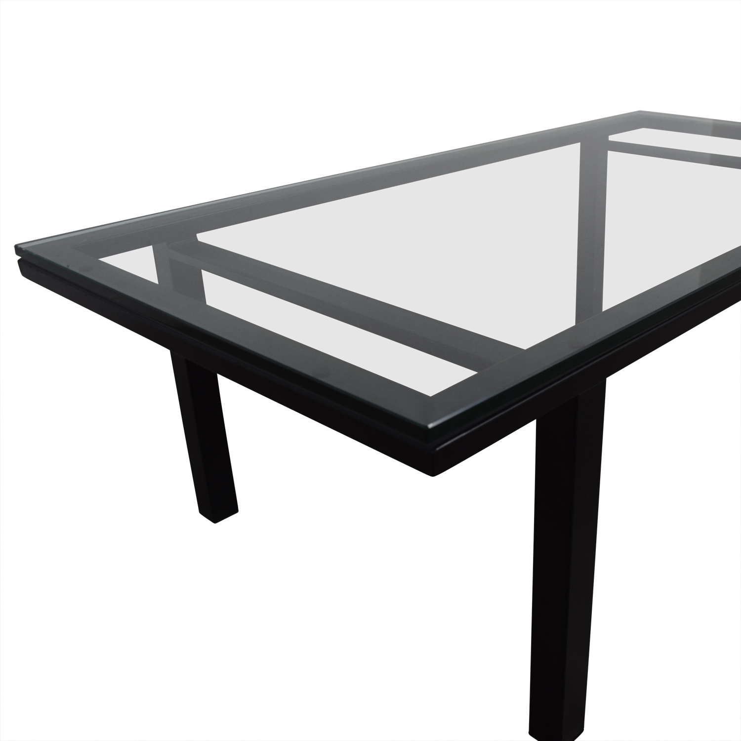 Rectangular Glass And Black Coffee Table / Tables