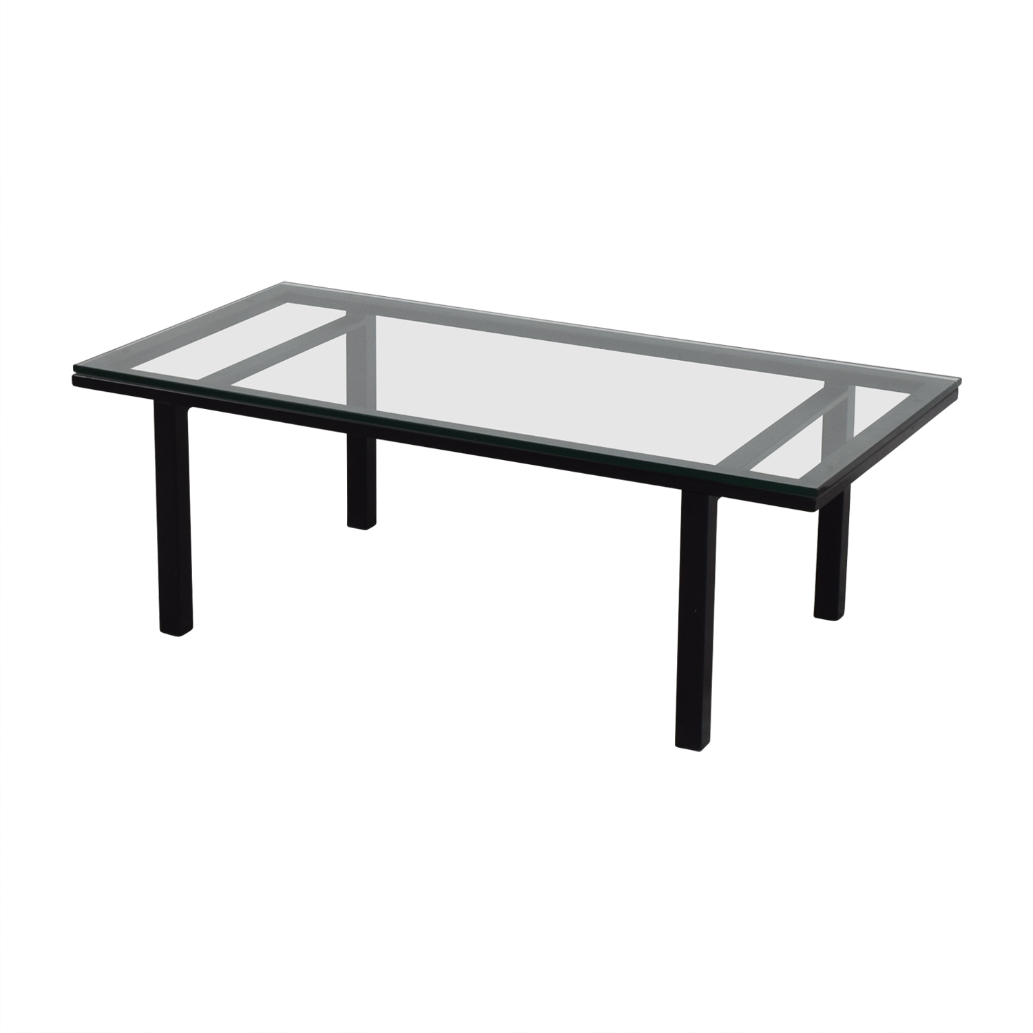 63 off rectangular glass and black coffee table tables for Table extensible hpl