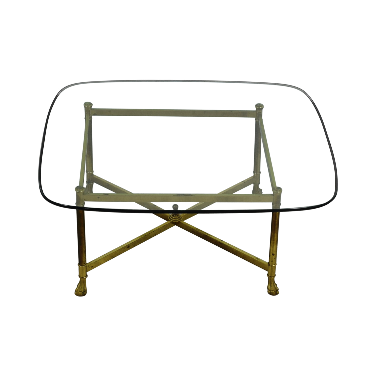 B. Altman B. Altman Brass and Glass Coffee Table nj