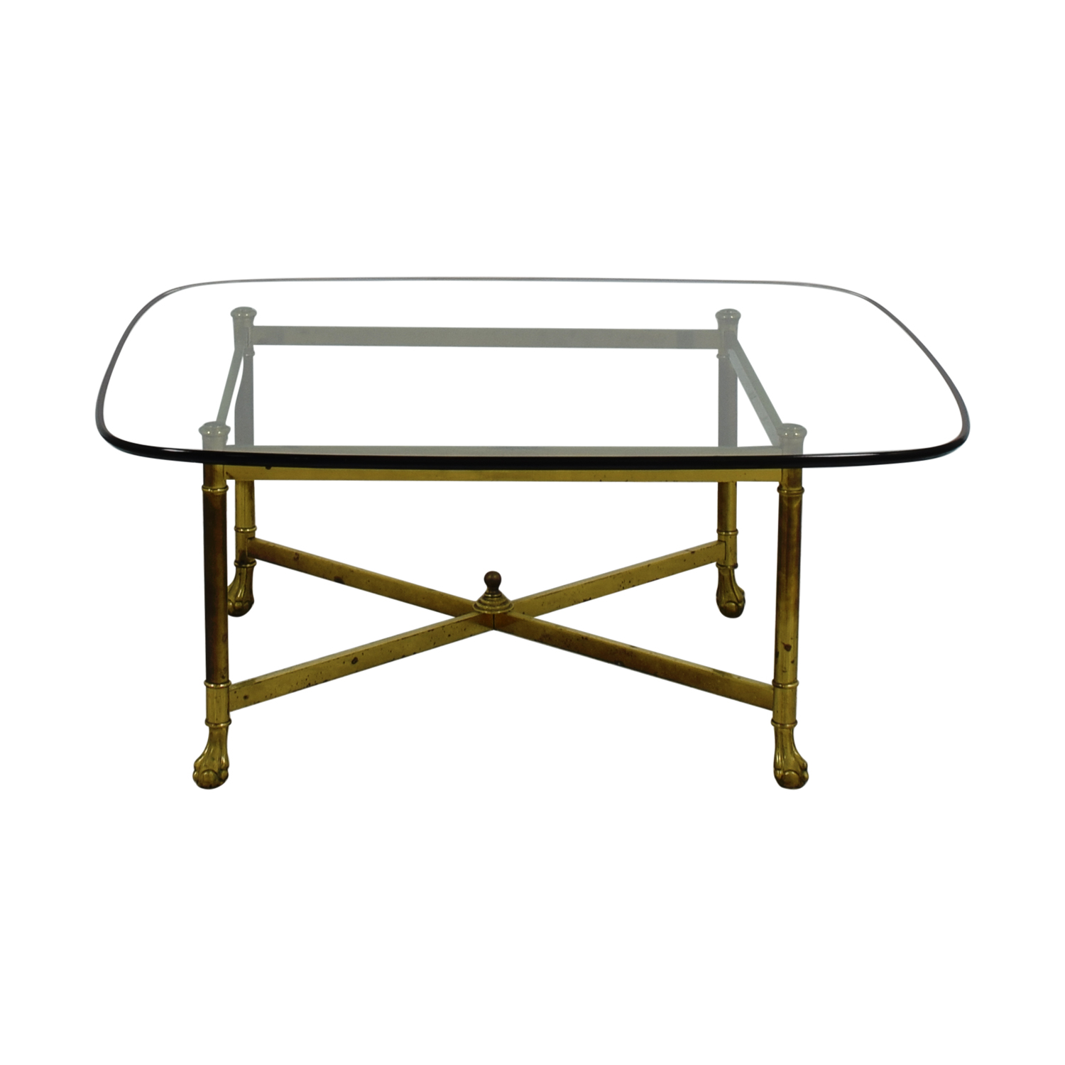 B. Altman B. Altman Brass and Glass Coffee Table on sale