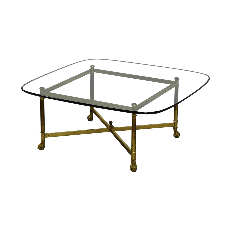 B. Altman B. Altman Brass And Glass Coffee Table Gold/glass Top