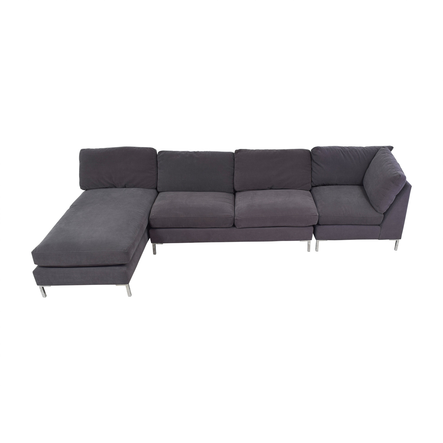 CB2 Charcoal Grey Chaise Sectional sale