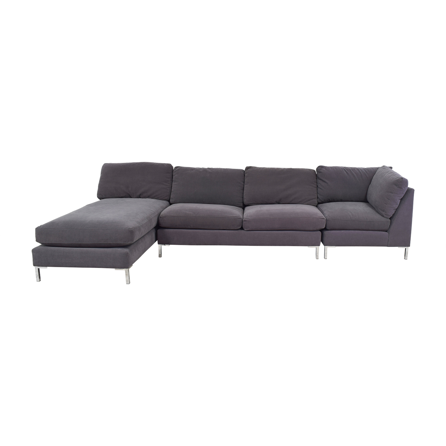 shop CB2 Charcoal Grey Chaise Sectional CB2 Sofas