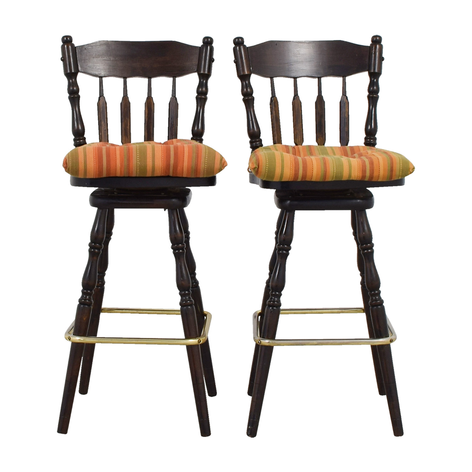 Dutch Crafters Dutch Crafters Windsor Walnut Swivel Bar Stools multi-colored