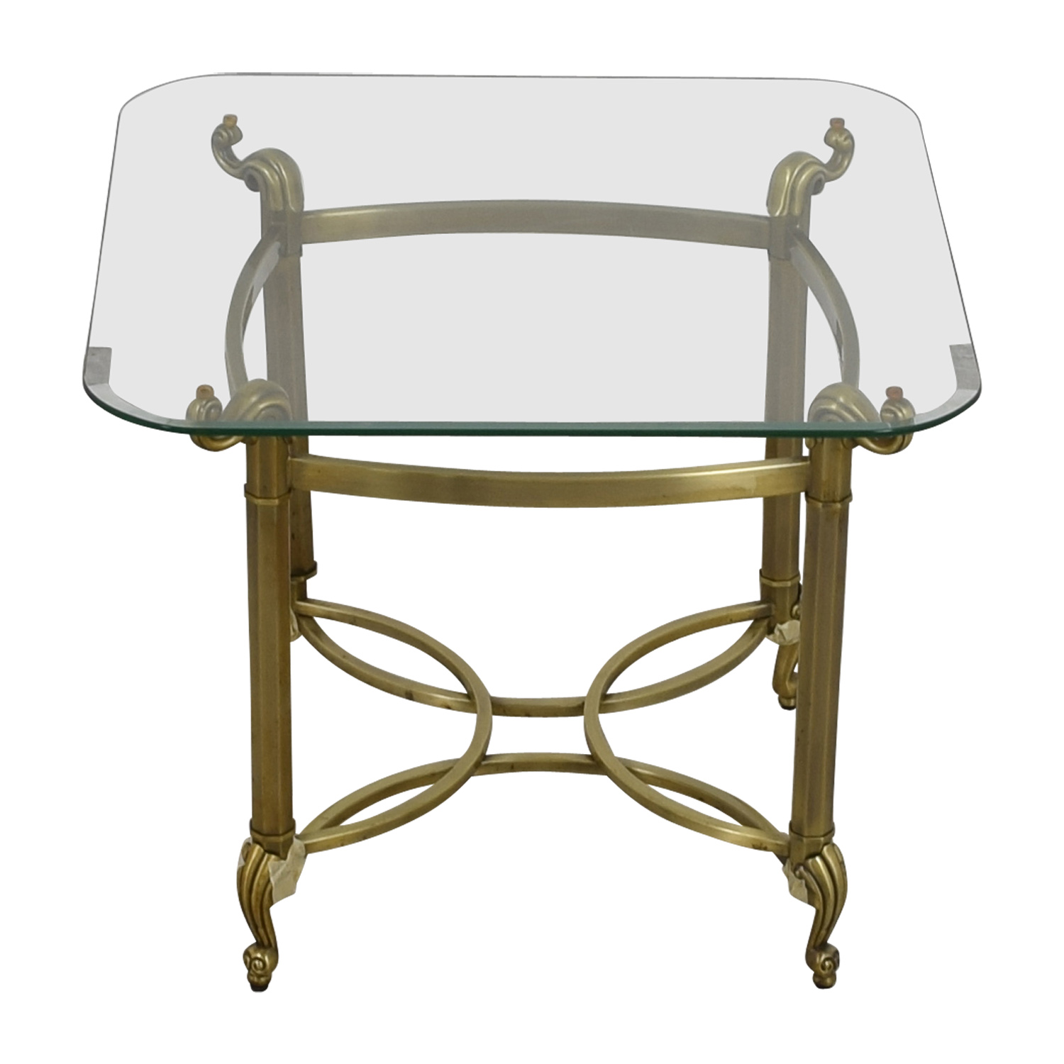 Glass Top and Brass Base End Table for sale