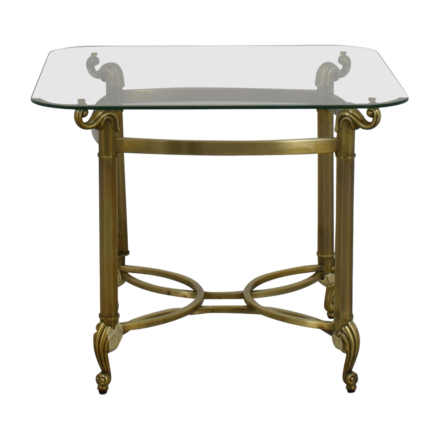 shop Glass Top and Brass Base End Table  Tables