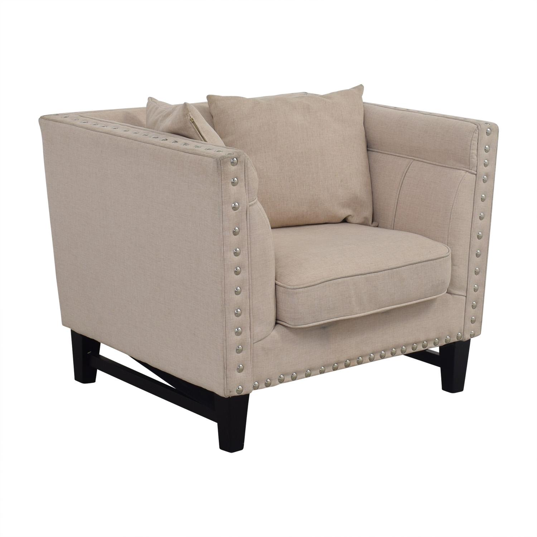 ... House Of Hampton House Of Hampton Square Beige Upholstered Nailhead Arm  Chair Nj ...