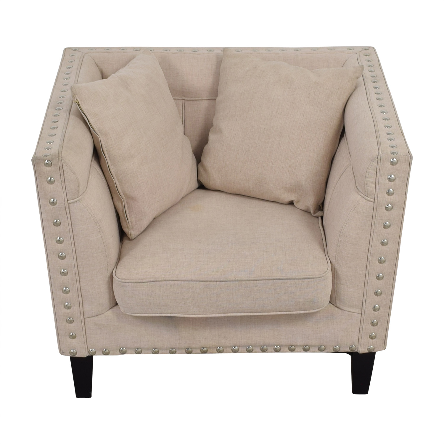 House of Hampton House of Hampton Square Beige Upholstered Nailhead Arm Chair nyc