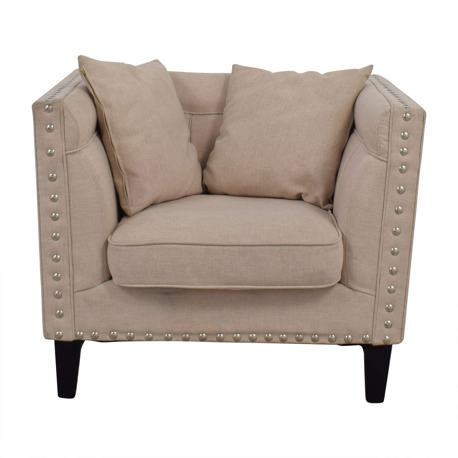 House of Hampton House of Hampton Square Beige Upholstered Nailhead Arm Chair dimensions