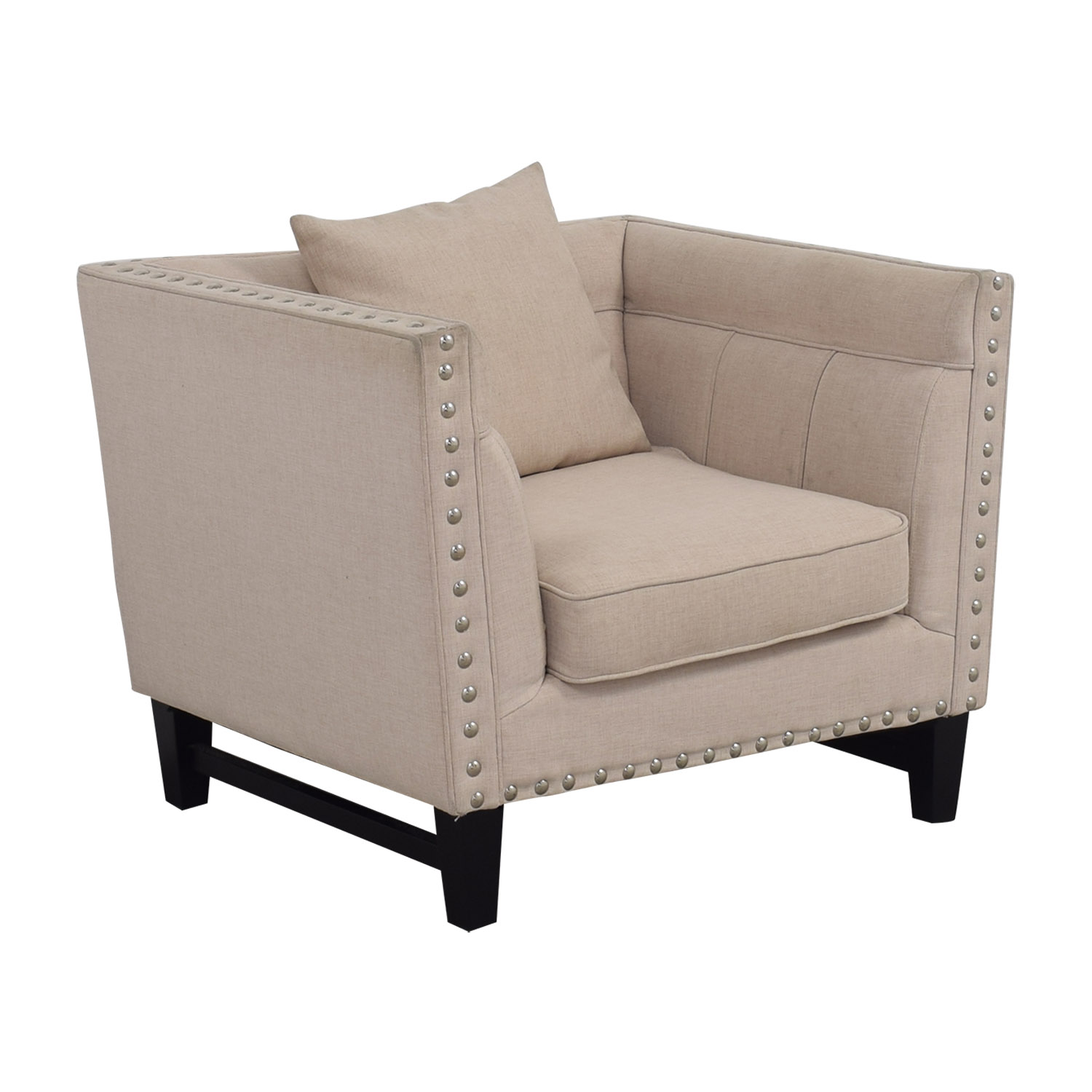 ... House Of Hampton House Of Hampton Beige Nailhead Square Upholstered  Armchair Accent Chairs ...
