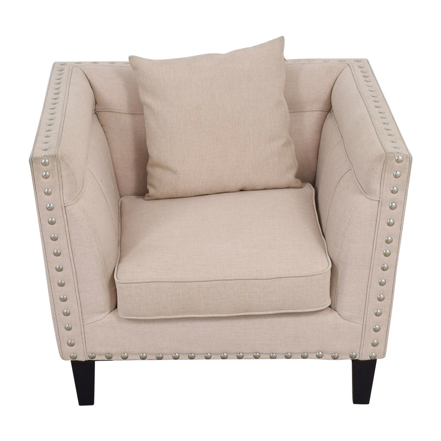 buy House of Hampton Beige Nailhead Square Upholstered Armchair House of Hampton