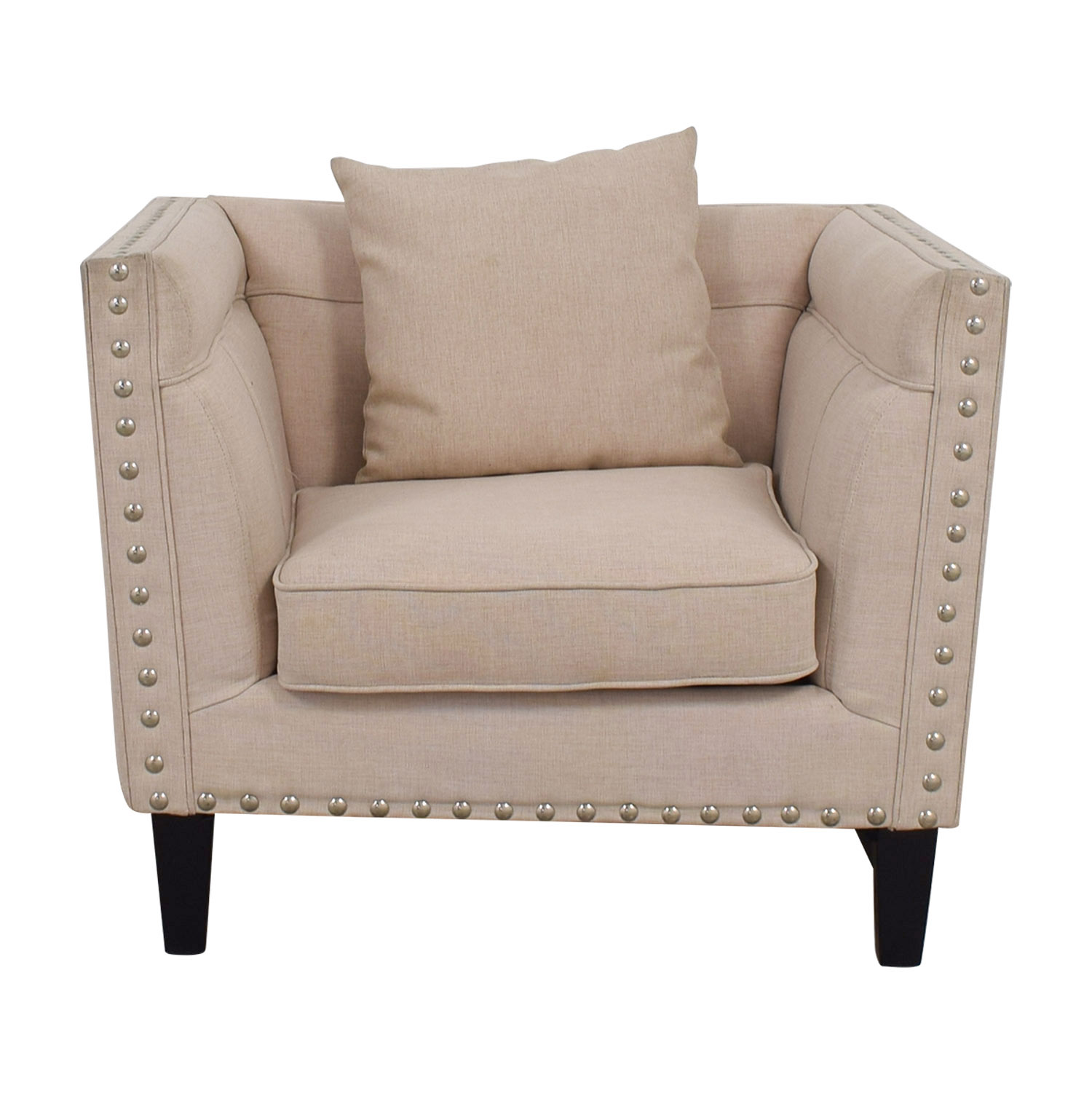 House of Hampton Beige Nailhead Square Upholstered Armchair House of Hampton