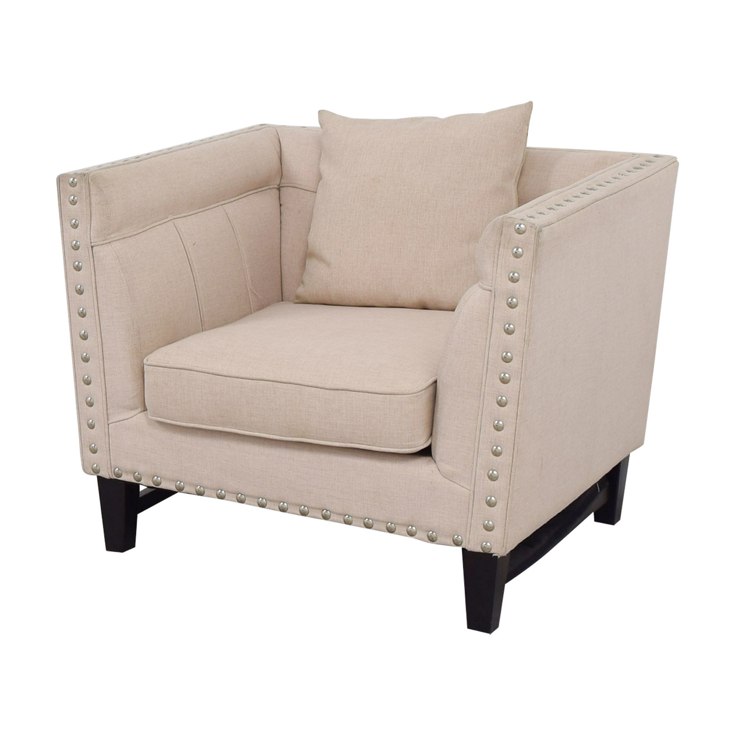 ... House Of Hampton House Of Hampton Beige Nailhead Square Upholstered  Armchair For Sale ...