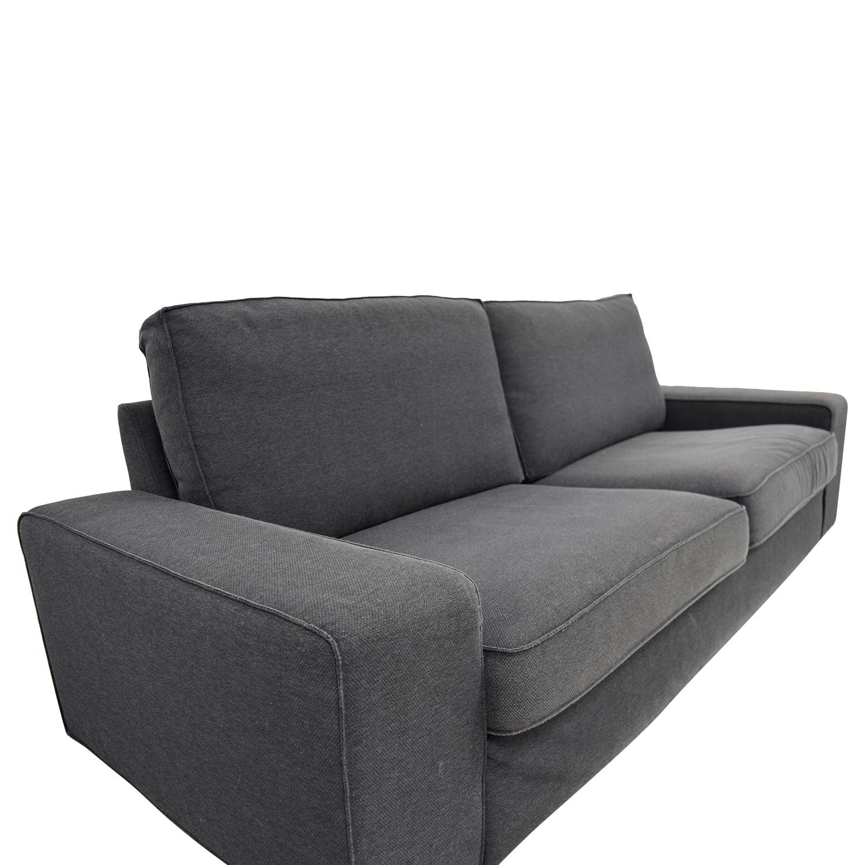 86 Off Bassett Bassett Grey Linen Two Cushion Sofa Sofas