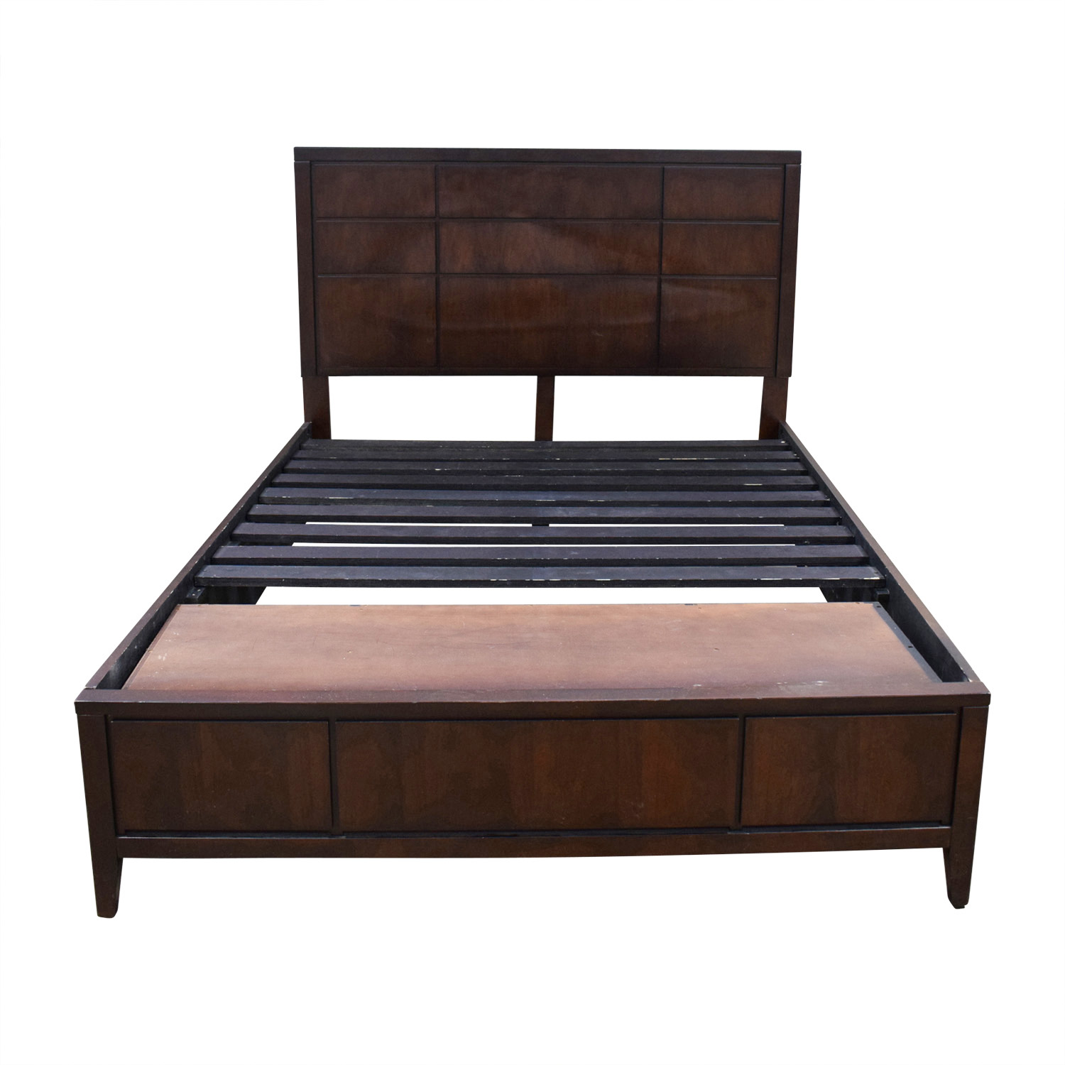 shop Raymour & Flanigan Platform Queen Size Bed Frame with Storage Raymour & Flanigan