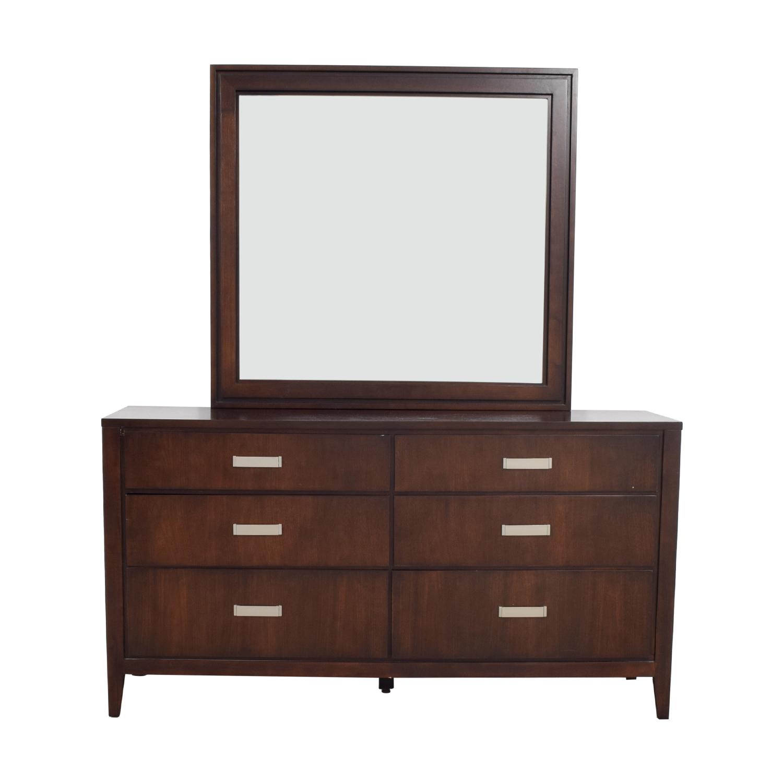 shop Raymour & Flanigan Six-Drawer Dresser with Mirror Raymour & Flanigan