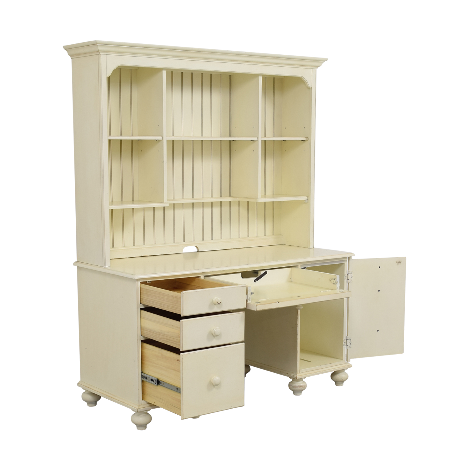 Ethan Allen White Wood Desk With Hutch Nyc
