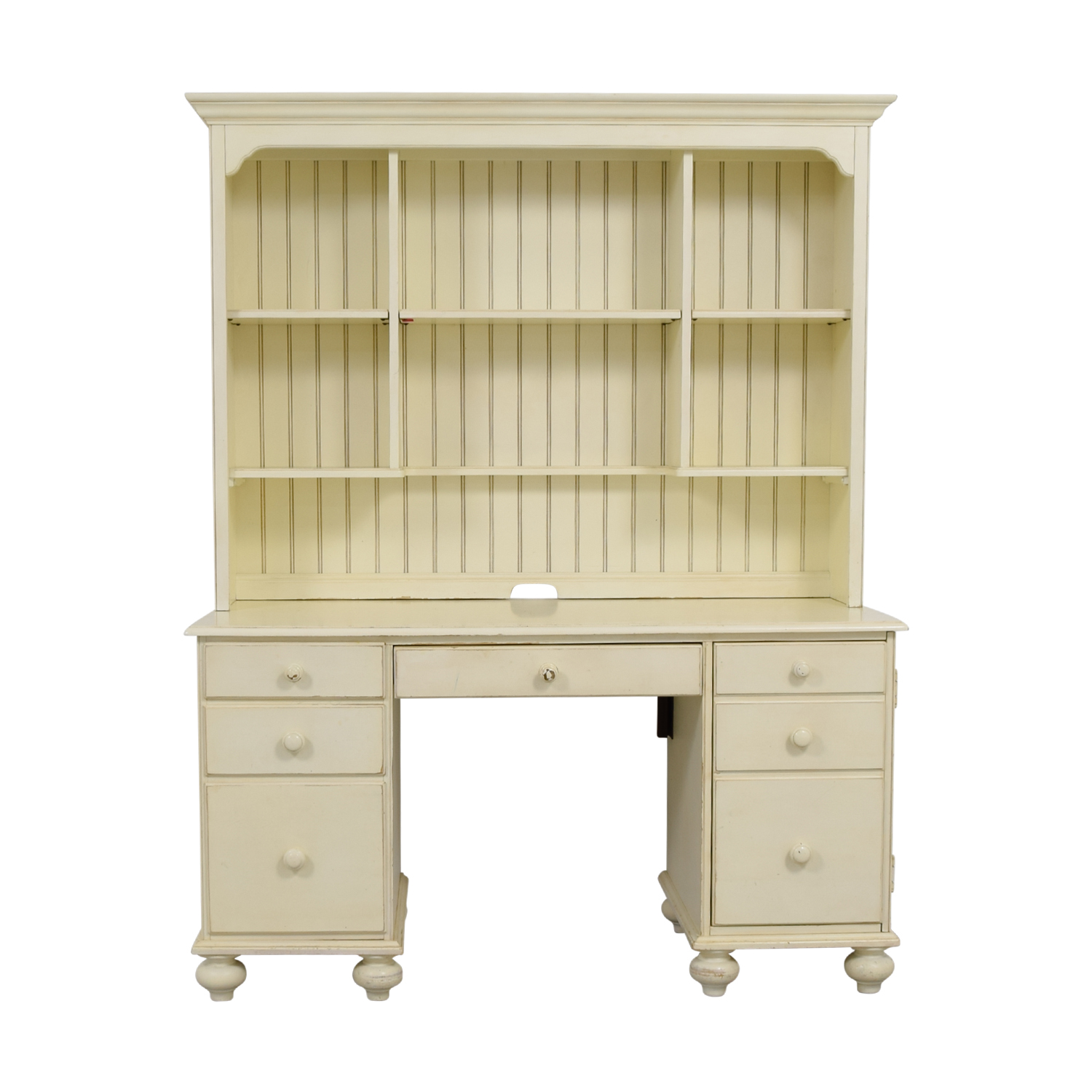 Ethan Allen Ethan Allen White Wood Desk with Hutch on sale