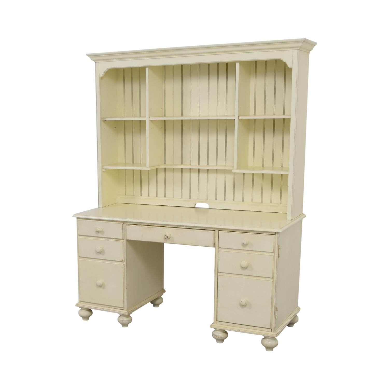 Ethan Allen White Wood Desk With Hutch