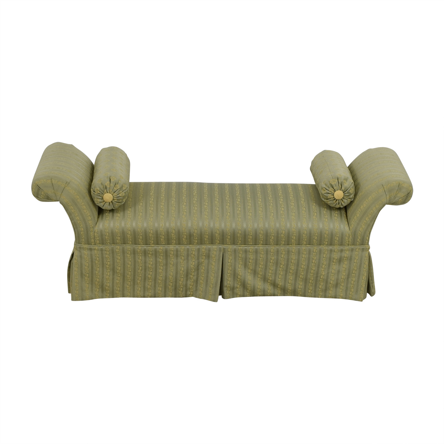 Two Toned Green Skirted Bedroom Bench with Neck Roll Pillows used