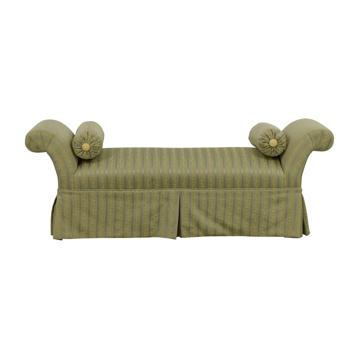 Two Toned Green Skirted Bedroom Bench with Neck Roll Pillows / Chairs