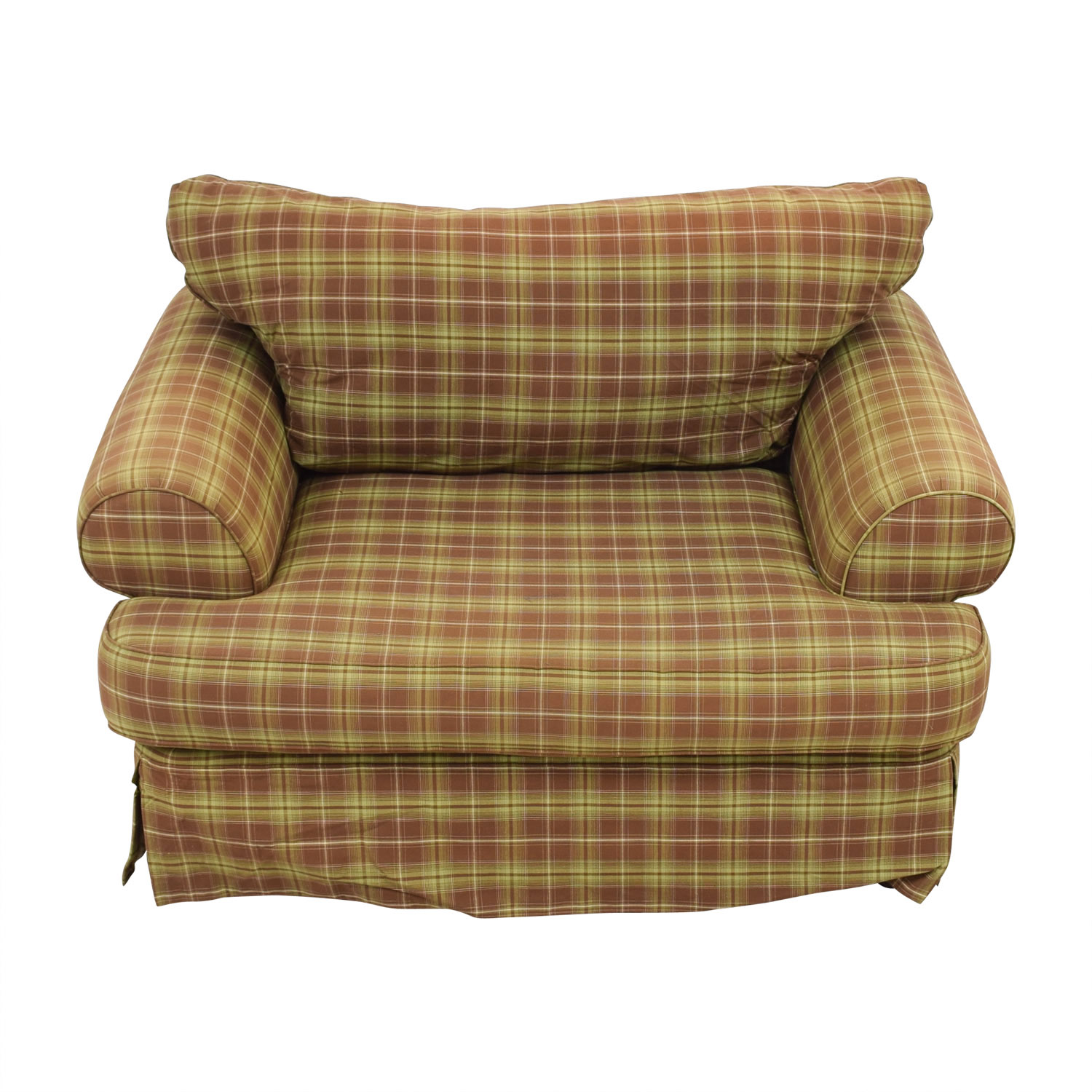 buy Klaussner Green and Beige Plaid Loveseat Klaussner