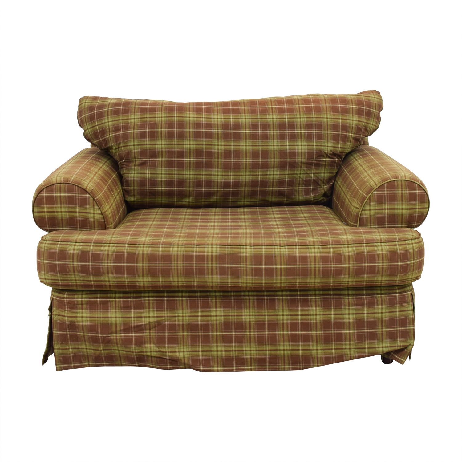 Klaussner Klaussner Green and Beige Plaid Loveseat coupon