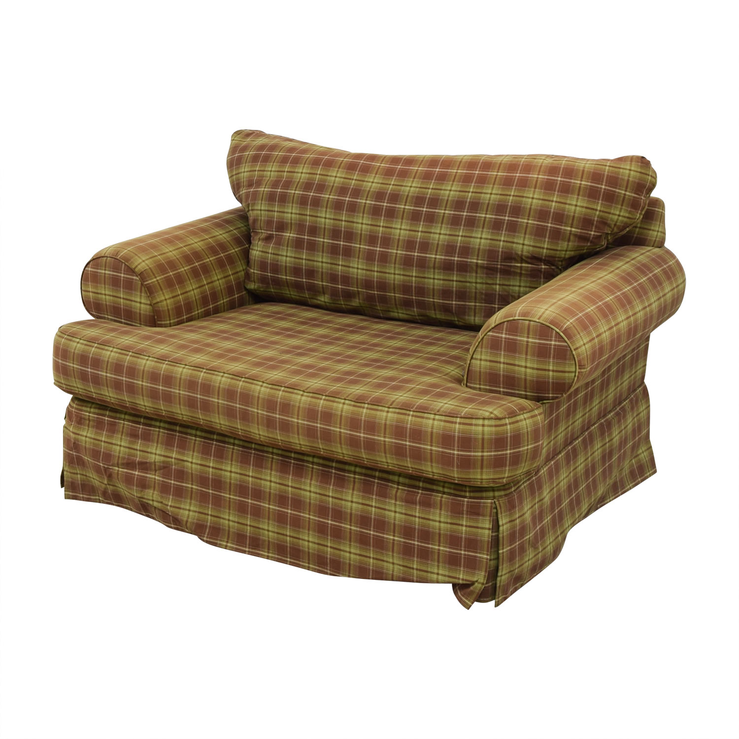 90 Off Klaussner Klaussner Green And Beige Plaid Loveseat Sofas