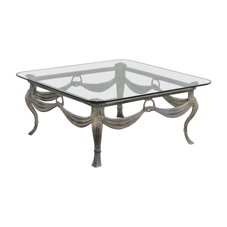 Glass & Distressed White Base Coffee Table nj