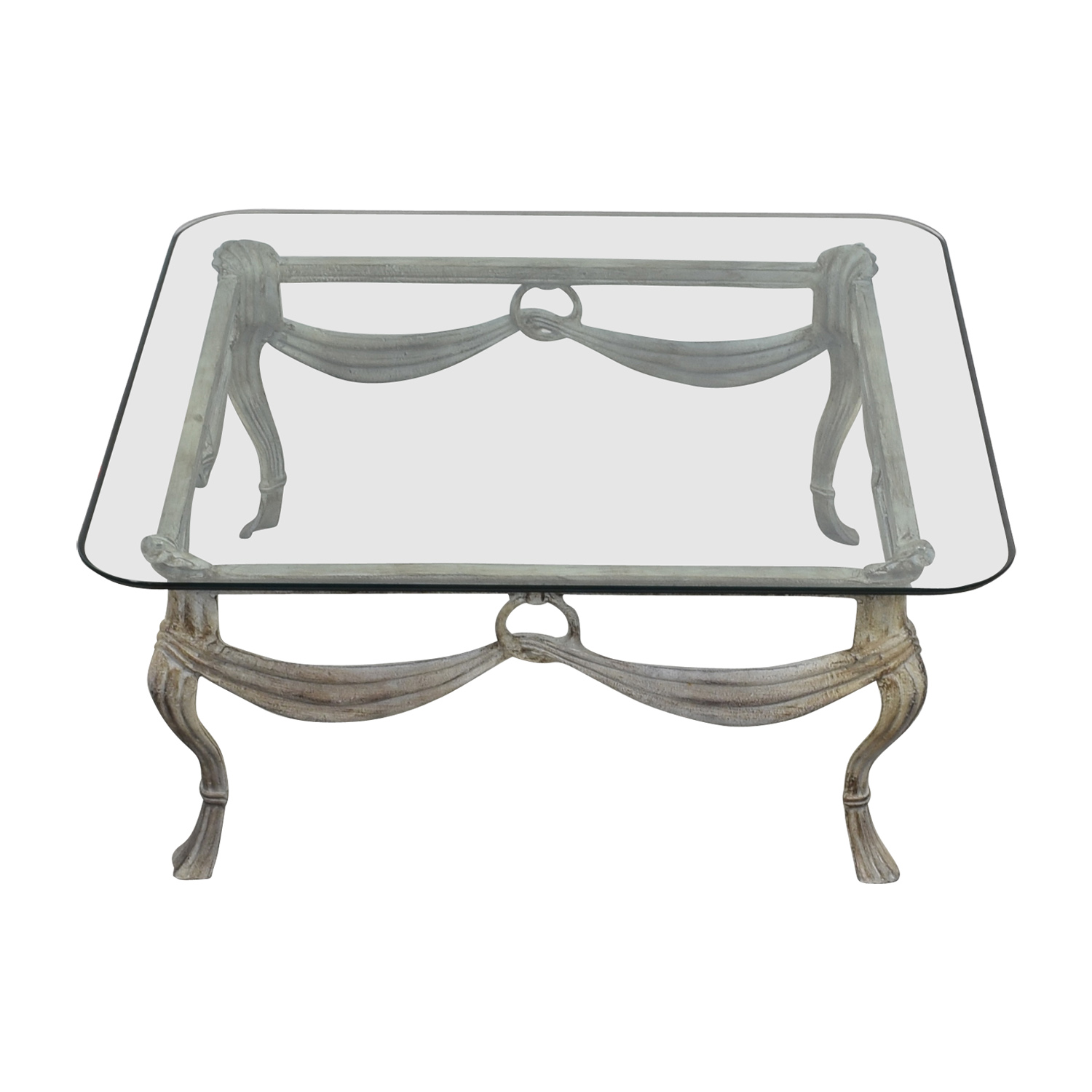 Glass & Distressed White Base Coffee Table used