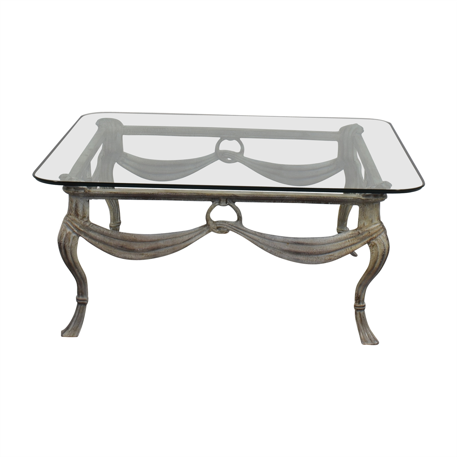 Glass & Distressed White Base Coffee Table second hand