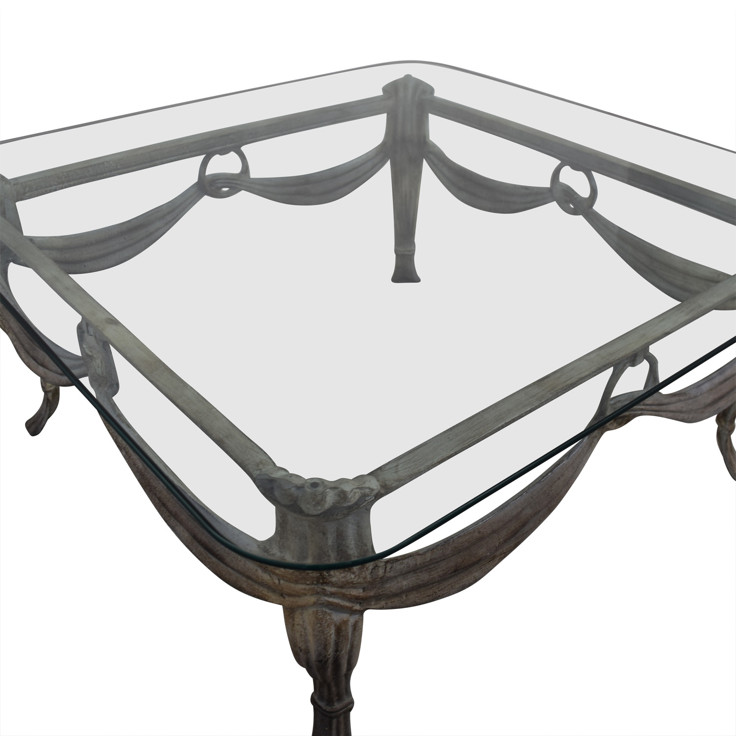 Glass & Distressed White Base Coffee Table