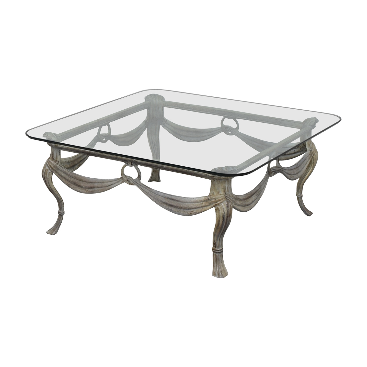 Glass & Distressed White Base Coffee Table / Tables