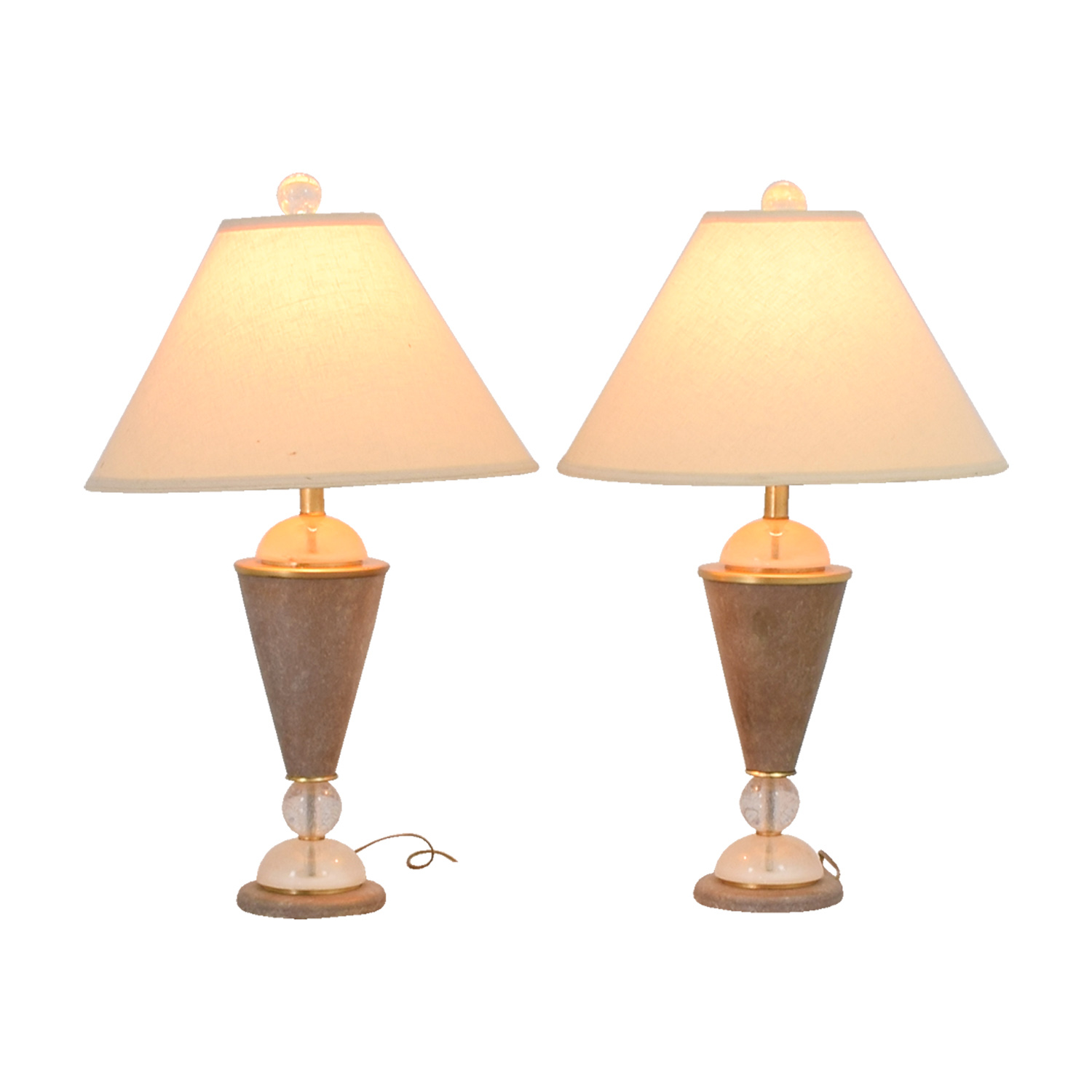 shop Beige and Crystal Table Lamps Decor