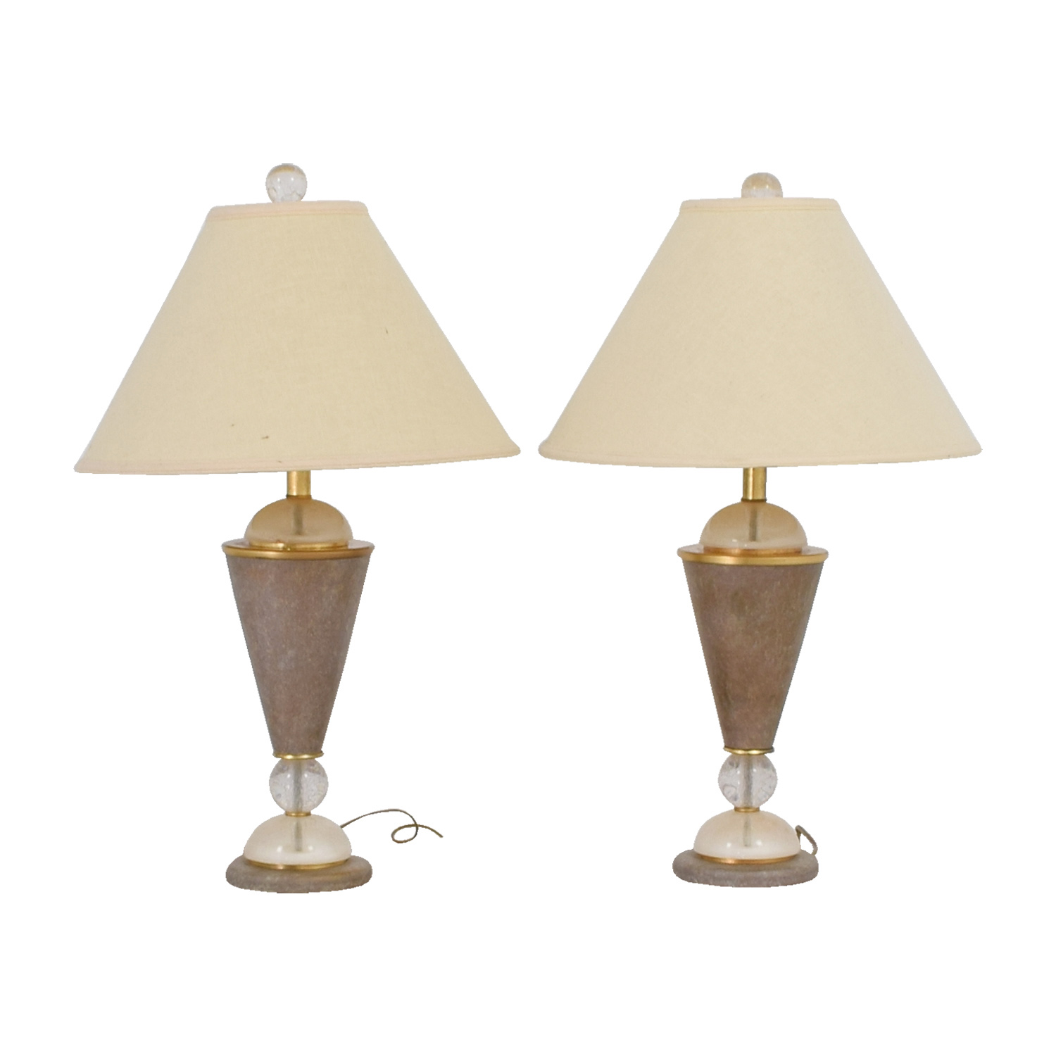 Beige and Crystal Table Lamps nj