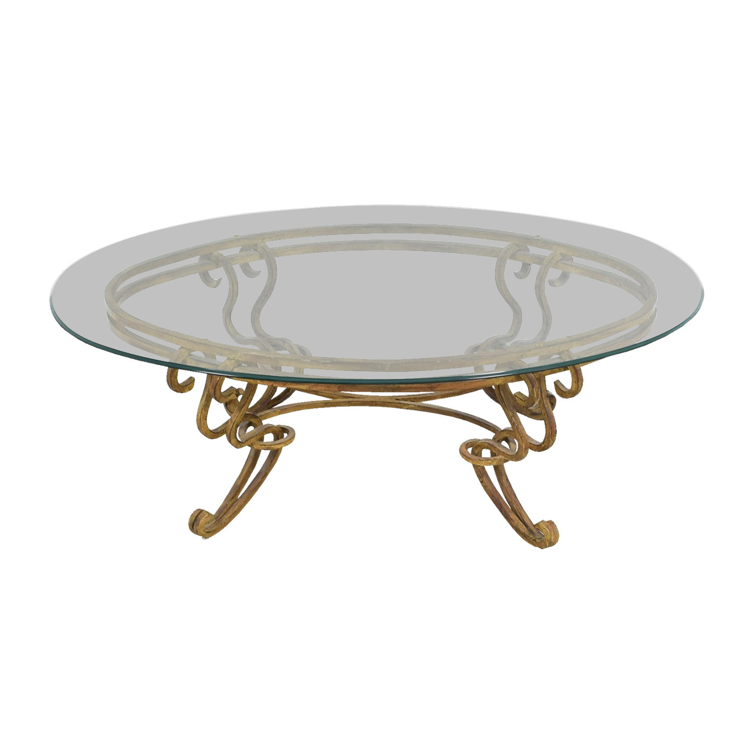Oval Glass and Brass Coffee Table