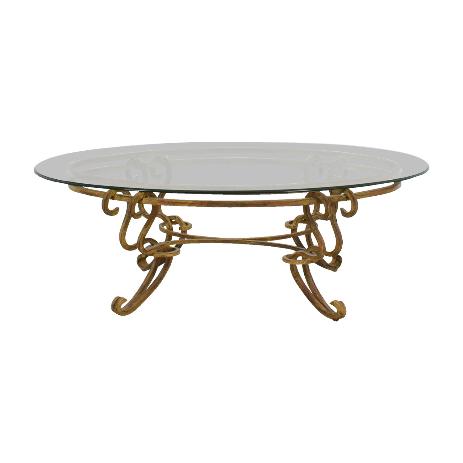 83 Off Oval Glass And Brass Coffee Table Tables
