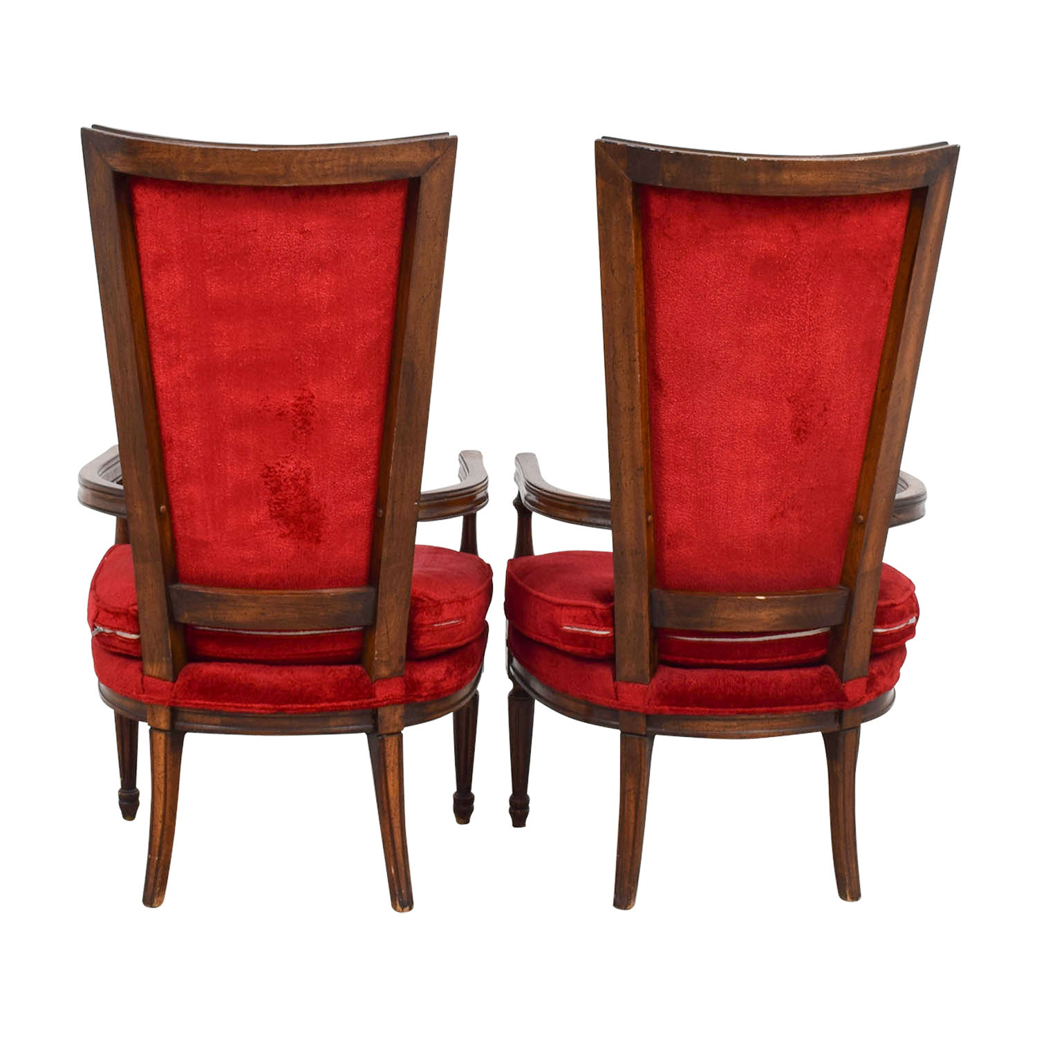 Vintage Red Tufted High Back Accent Chairs RED