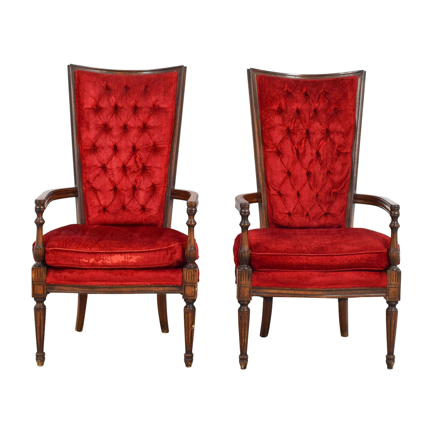 Vintage Red Tufted High Back Accent Chairs used